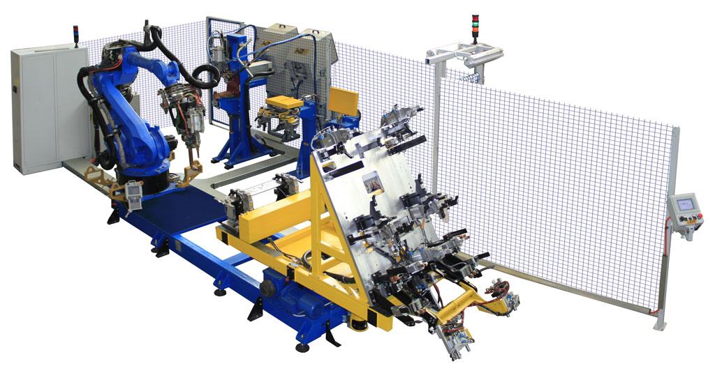 Isola di saldatura robotizza con due puntatrici