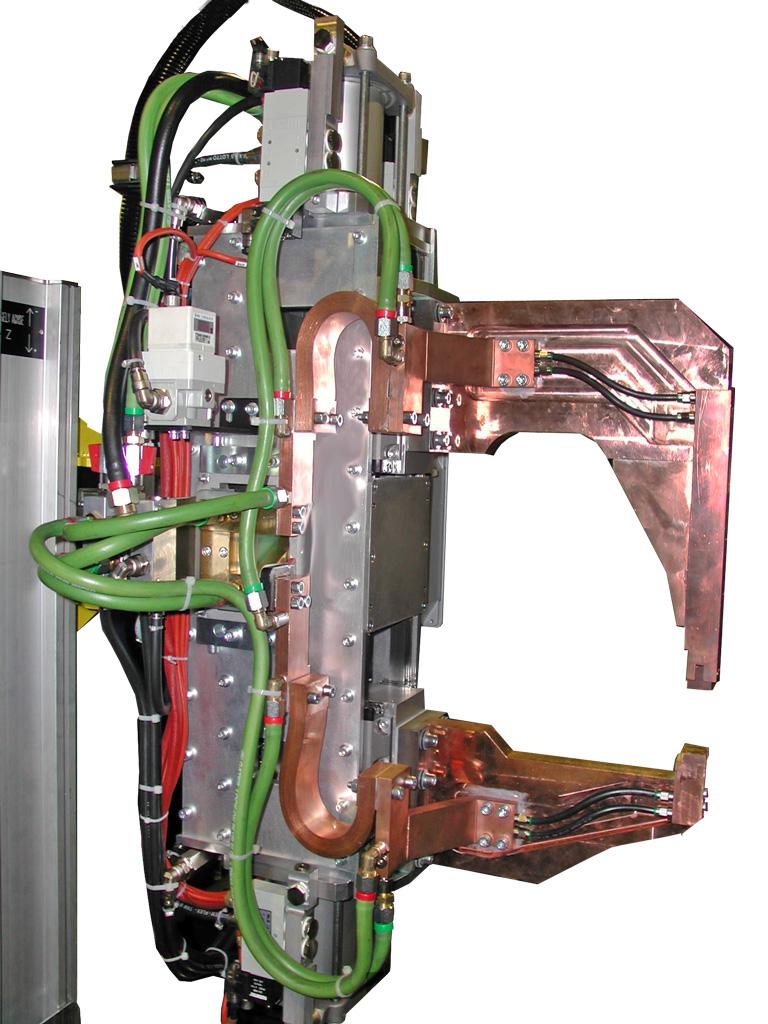 Pinza parallela a cilindri contrapposti con bracci in rame
